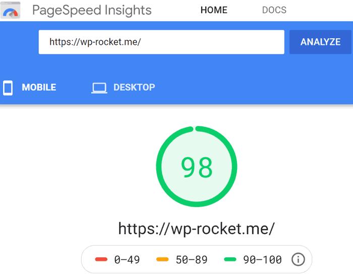 Captura de tela da pontuação de desempenho de velocidade da página de 98 de 100