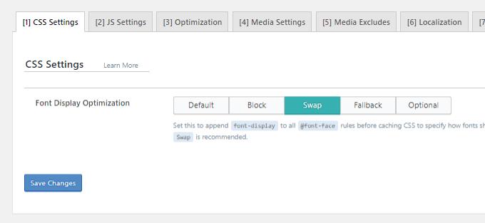 Troca de exibição de fonte-LiteSpeed Cache