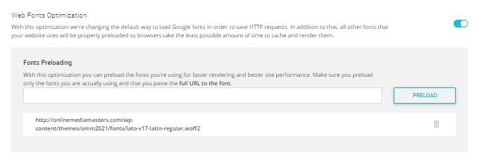 SG Optimizer Web Fonts Optimization