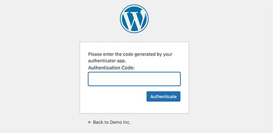 Adicione a autenticação de dois fatores código para continuar