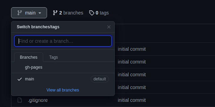 Alternando branches no GitHub Pages